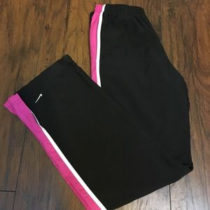 Nike Black and Pink Stripe Pants S